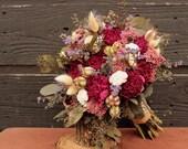 Burgundy Dried Peony Wedding Bouquet, Wild Flower Bridal Bouquet, Sola Flower Brides Wedding Bouquet with Burgundy Peonies and Wildflowers