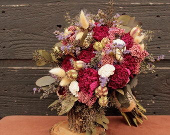 Burgundy Dried Peony Wedding Bouquet, Wild Flower Bridal Bouquet, Sola Flower Brides Wedding Bouquet with Burgundy Peonies and Wildflowers