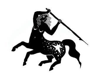 Centaur Warrior Ink Drawing Digital Art print