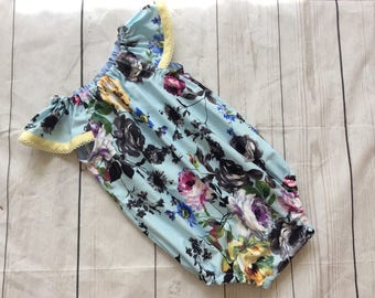 Aqua Floral Playsuit Flutter Sleeves Coming Home Outfit Baby Photos Baby Gift Bubble Romper Baby First Birthday Toddler Playsuit Party Rompe