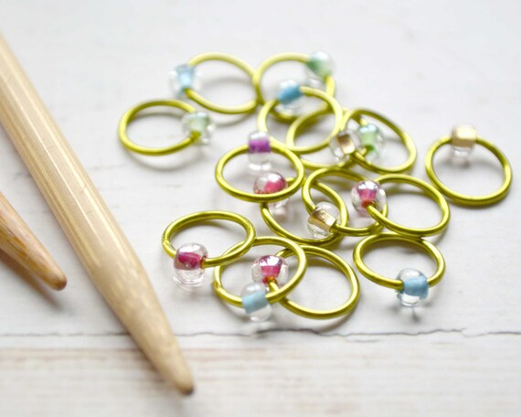 Crystal Rainbow / Stitch Markers - Dangle Free Snag Free Knitting Stitch Markers - Small Medium Large Sizes Available