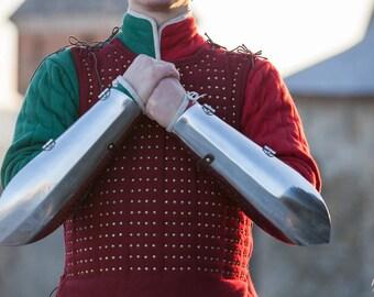Medieval Bazubands; Long Bracers; Metal Bracers