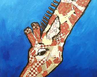 "Original mixed media canvas painting ,giraffe,fun, ""Who ate the last flower?"""