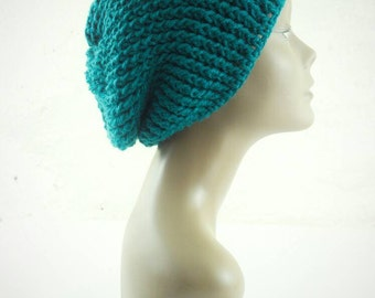 Lenny Ribbed Slouch Beanie in Teal