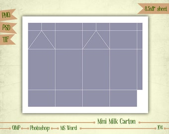 Mini Milk Carton - Digital Collage Sheet Layered Template - (T104)