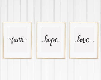 Faith Hope Love • 5x7, 8x10, 16x20, 18x24, 24x36 • Wedding Sign • Bible Verse Wall Art