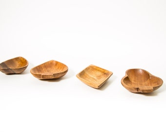 Card Suits Snack Dishes Mid Century Acacia Wood 1960s Tiki