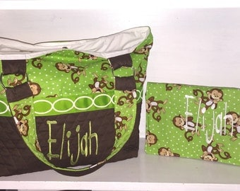 Personalized Diaper Bag Set In Monkey Print And Brown Quilt.  Includes Embroidered Name.  Lime Green & Brown Quilt Diaper Bag