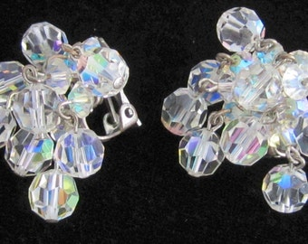 MID Century Vintage 1950s Aurora Borealis Crystal Glass Bead CHA-CHA Waterfall Silver Clip Back Earrings Retro Fashion Jewelry