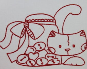 Set of 10 Kittes and Sewing Digitized Machine Embroidery Set of 10 red work designs Kitty