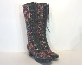 1960s black lace up embroidered go go boots - 60s lace-up boots - size 6.5 - go go boots  60s mod boots - gogo boots - black vinyl boots