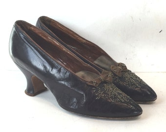 1910 Edwardian shoes in bronzish black leather with bows and beads - size 5  - 1910 shoes - Edwardian shoes - art deco shoes