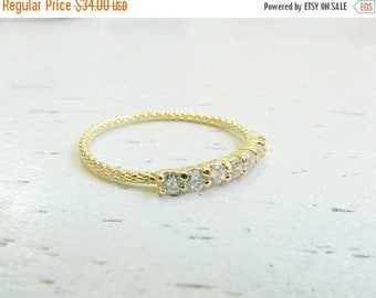 Mothers Day Sale - Thin diamond band - Thin gold ring - CZ gold stacking ring -Thin diamond ring - Stacking ring - Thin cz ring