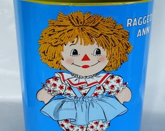 RAGGEDY ANN and ANDY Vintage Retro Trash Metal Garbage Can Rubbish Waste Paper Basket