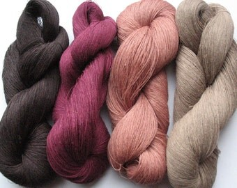 Linen Yarn Brown Beige Pink Purple 400 gr (14 oz ), Cobweb / 1 ply, each hank contains approximately 3000 yds