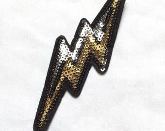New Lightning Bolt Sequin Iron-On Appliqué Patch Motif DIY