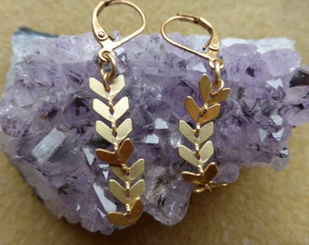 Warm and Classy  Brushed Gold Dangle Earrings