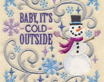 Baby It's Cold Outside Snowman Embroidered Towel   Flour Sack Towel   Linen Towel   Dish Towel   Kitchen Towel   Hand Towel   Snowman Towel