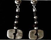 boho earrings, beaded earrings, dangle earrings, leather earrings, statement earrings, silver leather, women drop earrings, women earrings