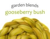 Blended Merino roving - spinning fiber - 100g/3.5oz - greens - Garden Blends - GOOSEBERRY BUSH