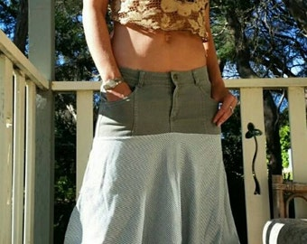 Boho Festival Pants- grey waistband, Green and White striped. Size 12.