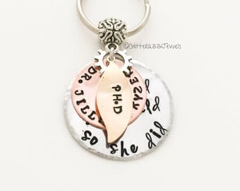 Graduation Keychain Inspirational Message Name Degree Personalised Gift Doctor Doctorate MD PhD RN PA Nurse Practitioner lpn Best Friend