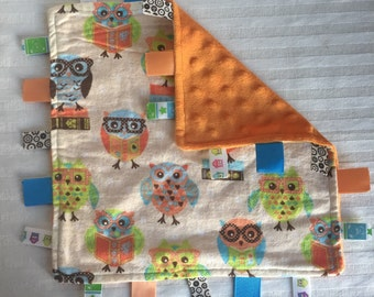 Handmade Baby Tag Security Sensory Blanket - Wise Owls - Book Owl Blue Green Orange Dotted Minky