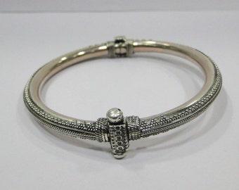 Traditional Design Sterling 925 Silver Bracelet Bangle Rajasthan India