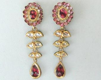 Vintage Antique 20k Gold Diamond Polki Kundan Enamel Work Pacchi Earring Pair India