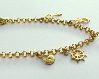Vintage antique Handmade Solid 22k Gold jewelry Charm Bracelet Bangle