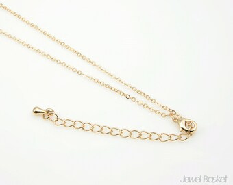 "28"" Gold Plated Chain with Extension - 235SF (1.6mm x 2mm) / 28 inches (71cm) / COG005-CH (5pcs)"