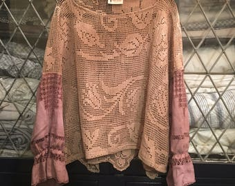 Women's Lace and Cotton Blouse.Free size.