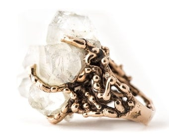 Raw Quartz Statement Ring - One of a Kind piece, for men and women
