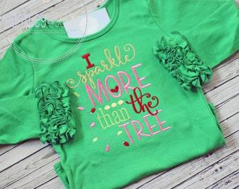 Girls Christmas Shirt - Girls Sparkle Christmas Shirt - Christmas Tree Shirt- Rudolph Shirt