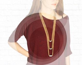 Knit Beige Necklace. Minimalist necklace. Multi Strand Necklace. Knitted necklace. Minimalist jewelry. Modern jewelry