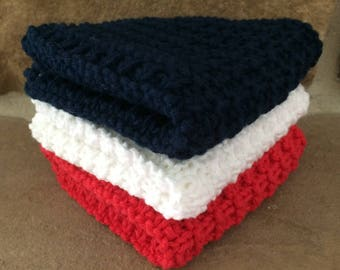 Hand Knit Cotton Dish Cloths Set of 3 Navy Red White