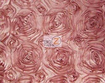 "Rosette Style Taffeta Fabric - DUSTY ROSE - 52/58"" Width By The Yard Wedding Prom Bridal Dress"