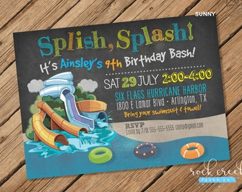 Waterpark Party Invitation, Water Slide Party, Wave Pool, Splash Pool, Inner Tube, Printable Birthday Party Invitation