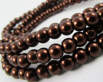 530 Glass pearl beads 4mm Mocca Brown Chocolate Sepia loose bead strand spacer wholesale bulk czech glass bead round [C35-3790-05]