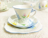 Hand painted Art Deco Blue Tea Trio