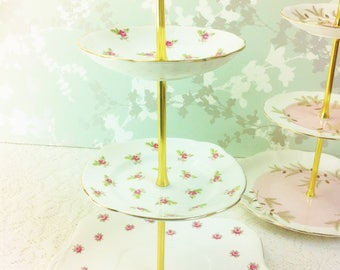 Pink Rose Bud 3 Tier Cake Stand
