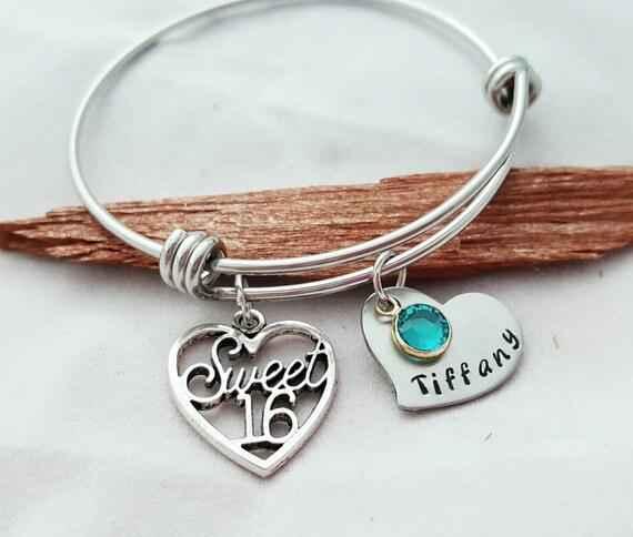 Sweet 16 Charm Bracelet: Sweet 16 Bangle Sweet 16 Bracelet 16th Birthday For By
