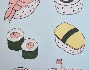 Sushi - Original Oil Painting, Food Art