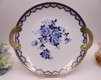 1910s Vintage Hand Painted Nippon Cobalt Blue Cake or Serving Plate