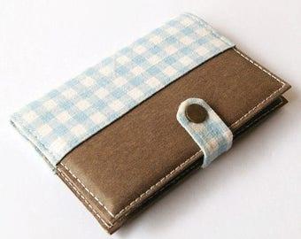 SALE 25% Blue Checked Washable Kraft Paper Passport Holder, Passport Cover, Passport Case, Travel Wallet for 2 Passports