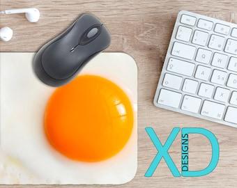 Egg Mouse Pad, Egg Mousepad, Yolk Rectangle Mouse Pad, Yellow, White, Yolk Circle Mouse Pad, Egg Mat, Computer, Food, Eggshell, Unique, Fun