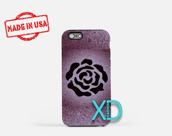 Rose Silhouette iPhone Case, Rose iPhone Case, Rose iPhone 8 Case, iPhone 6s Case, iPhone 7 Case, Phone Case, iPhone X Case, SE Case