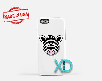Cartoon Zebra iPhone Case, Animal iPhone Case, Zebra iPhone 8 Case, iPhone 6s Case, iPhone 7 Case, Phone Case, iPhone X Case, SE Case