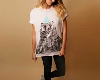 Limited Edition Bear Illustration Screen Print Tee