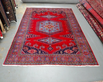 1990s Hand-Knotted Room-Sized Wiss/Viss Persian Rug (3555)